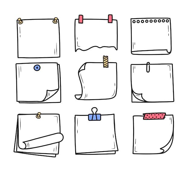 メッセージメモ落書きスタイルの手描き落書きメモ帳のセット