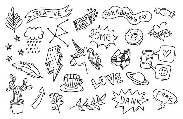 手描き落書きのセット