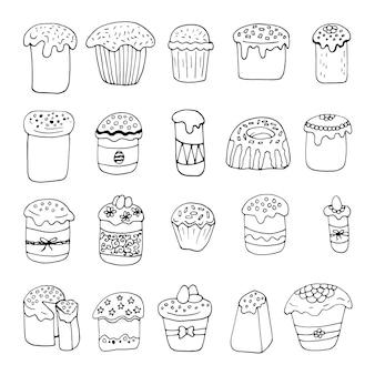 手描きのイースターケーキ、卵とパンのセットです。かわいいスタイルの落書きベクトルイラスト。グリーティングカード、ポスター、ステッカー、季節のデザインの要素。白い背景で隔離