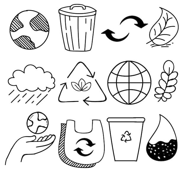 낙서 스타일, 벡터 일러스트 레이 션 손으로 그린 생태, 생태 문제 및 녹색 에너지 아이콘 세트