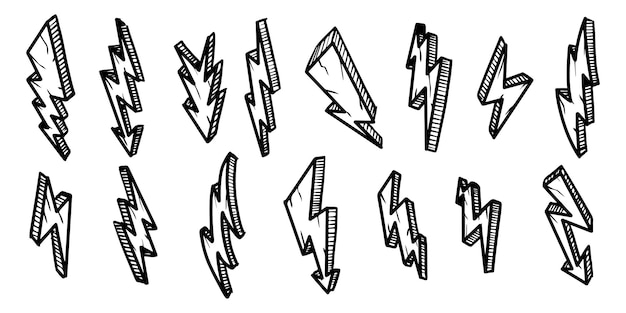 手描き電気稲妻シンボルスケッチイラストのセットです。雷のシンボル落書きアイコン。デザイン要素は白い背景で隔離。ベクトルイラスト。