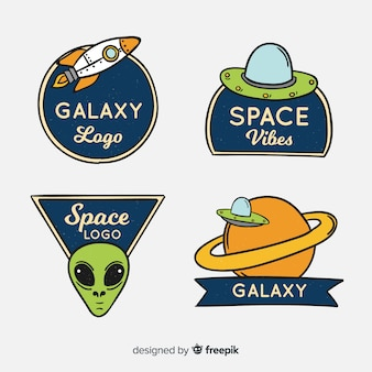 Set of hand-drawn elements of space stickers