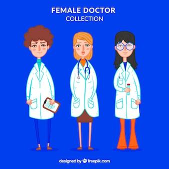 手描きの女性医師のセット