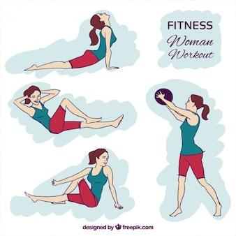 Набор рисованной фитнес девочек