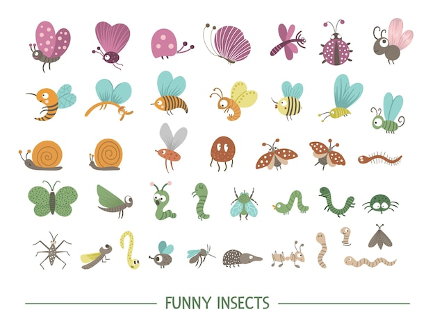 Набор рисованной плоских насекомых