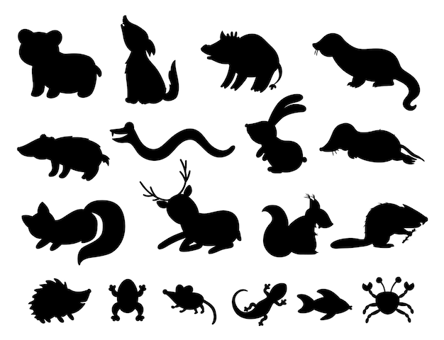 Набор рисованной плоских силуэтов лесных животных.