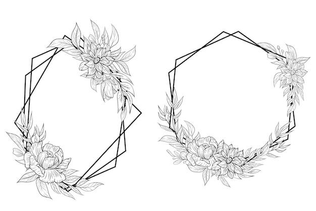 손으로 그린 꽃 프레임 테두리 개요 장식 세트