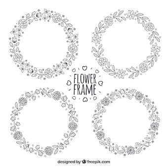 手描きの花輪のセット