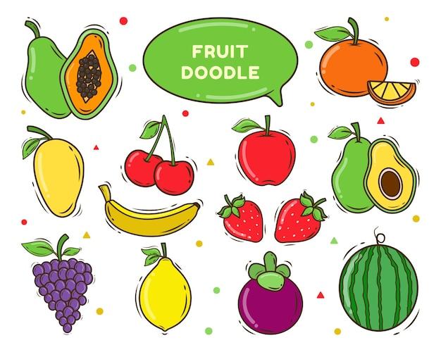 Набор рисованной фруктов мультяшный каракули стиль