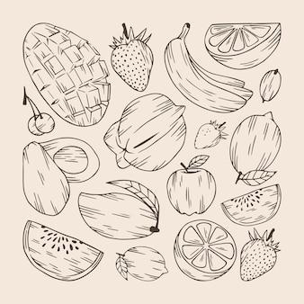 手描きの果物コレクションのセット