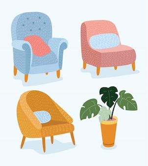 Набор рисованной мебели и деталей интерьера стульев эскиз магазина, квартиры, продвижение, продажа, реклама