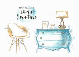 手描きの家具とインテリアの詳細のセット