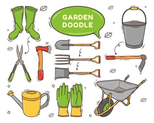 손으로 그린 정원 도구 만화 낙서 스타일의 집합