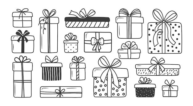 손으로 그린 선물 상자 세트