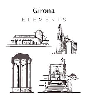 手描きのジローナの建物のセット