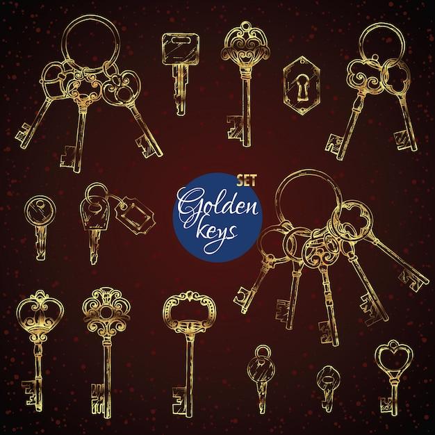 Набор нарисованных от руки золотых старинных ключей