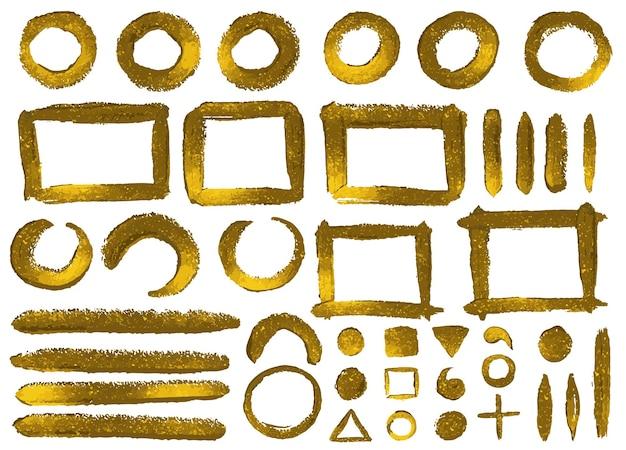 Набор рисованной золотой блеск краски рамок и элементов
