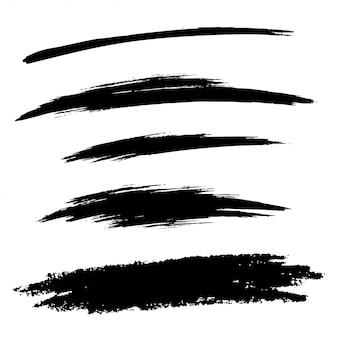 手描きのグランジブラシ線のセット