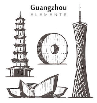 手描きの広州の建物のセット