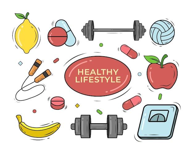 Набор рисованной здорового образа жизни мультяшный каракули стиль