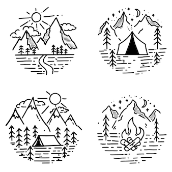 手描きのハイキングと観光のエンブレムのセットです。ロゴ、ポスター、カード、エンブレム、印刷の要素。画像