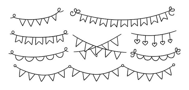 손으로 그린 홀리데이 멧새 세트. 깃발의 낙서 생일 화환. 아이들은 그림을 낙서합니다. 흰색 배경에 고립 된 벡터 일러스트 레이 션