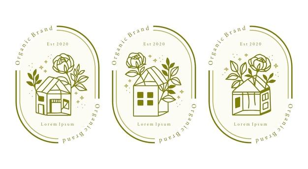 뷰티 브랜드에 대한 손으로 그린 홈 및 녹색 꽃 로고 요소 집합