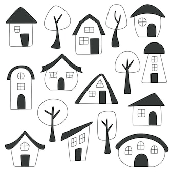 Набор рисованной домов и деревьев на белом фоне. домашний набор каракули. векторная иллюстрация.