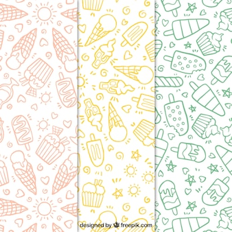 Set of hand-drawn ice cream patterns