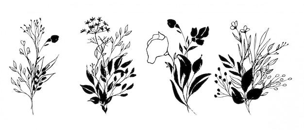 손으로 그린 잉크 꽃 꽃이 세트