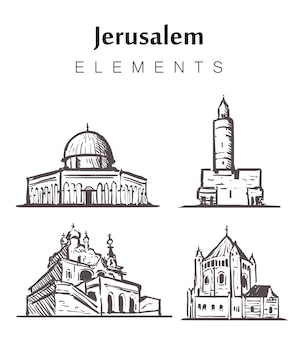 Набор рисованной иерусалимских зданий