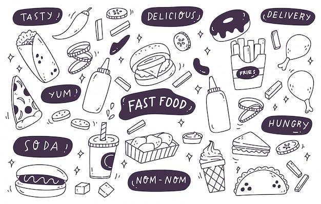 Набор рисованной нездоровой пищи doodle Premium векторы