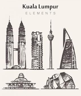 Набор рисованной зданий куала-лампур. иллюстрация эскиза элементов куала-лампур.