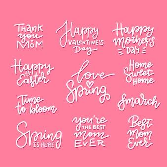 봄 휴가에 대한 손으로 그린 글자 세트