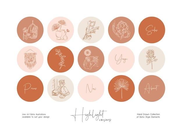 손으로 그린 라인 아트 boho 삽화 세트 아이콘 소셜 미디어 스토리 하이라이트 세트