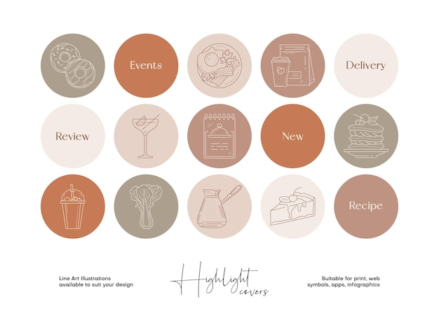 소셜 미디어 하이라이트 표지를 위한 손으로 그린 라인 아트 음식 및 음료 삽화 세트