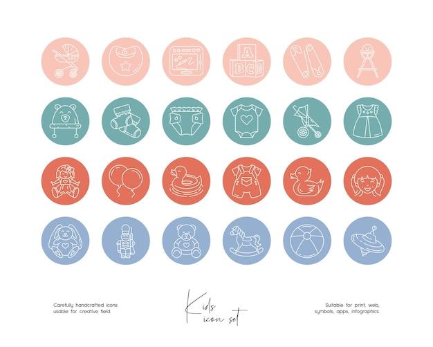 소셜 미디어 또는 브랜딩을 위한 손으로 그린 라인 아트 벡터 아기 삽화 세트