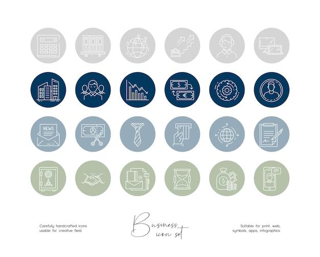 소셜 미디어 및 브랜드 아이덴티티 또는 로고를 위한 손으로 그린 라인 아트 벡터 비즈니스 일러스트레이션 세트