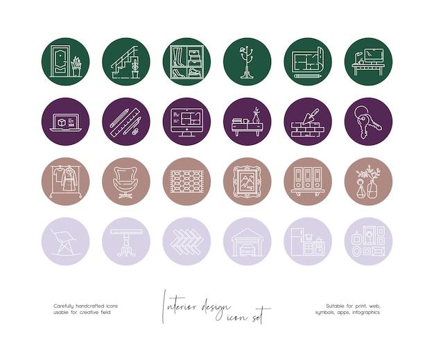 소셜 미디어 또는 브랜딩을 위한 손으로 그린 라인 아트 벡터 인테리어 디자인 삽화 세트