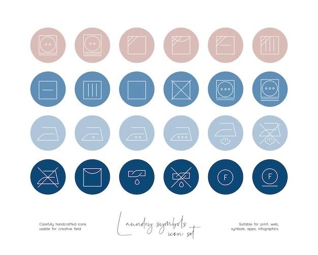소셜 미디어 또는 브랜딩을 위한 손으로 그린 라인 아트 벡터 세탁 기호 삽화 세트