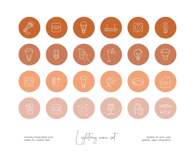 소셜 미디어 또는 브랜딩을 위한 손으로 그린 라인 아트 벡터 조명 삽화 세트
