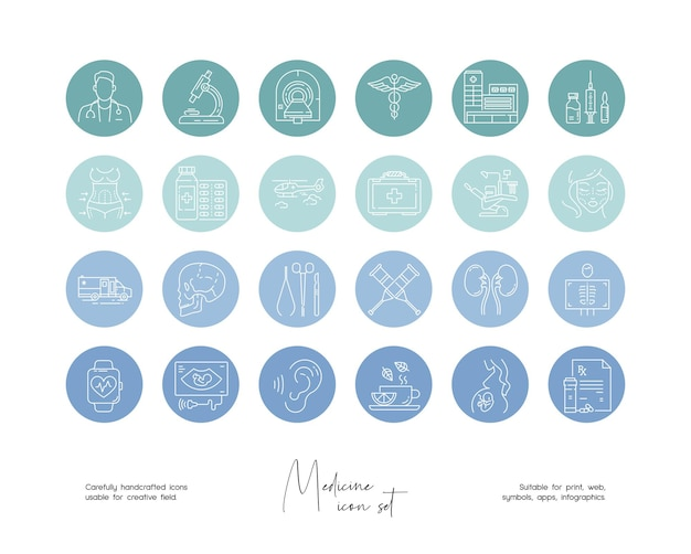 소셜 미디어 또는 브랜딩을 위한 손으로 그린 라인 아트 벡터 의학 삽화 세트