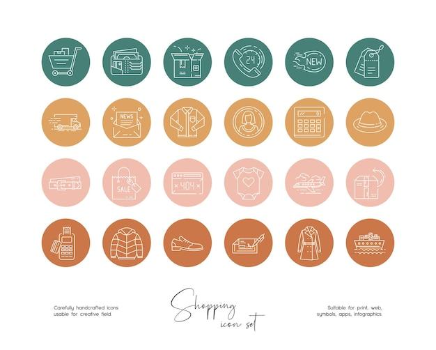 ソーシャルメディアやブランディングのための手描き線画ベクトルオンラインショッピングイラストのセット