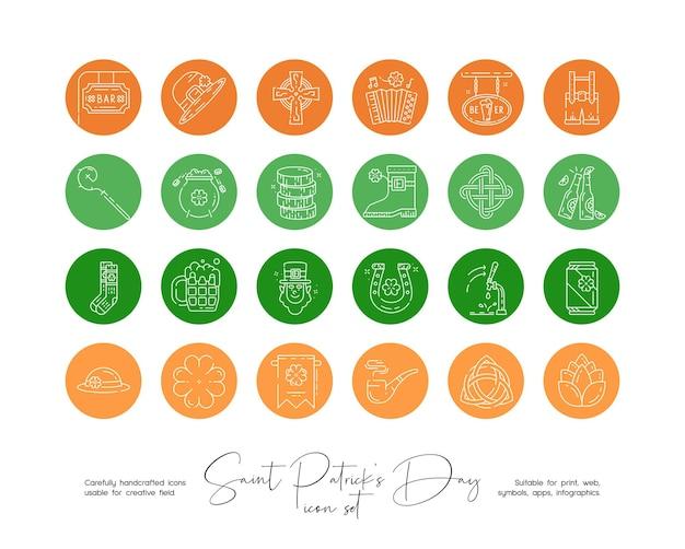 소셜 미디어 또는 브랜딩을 위한 손으로 그린 라인 아트 벡터 성 패트릭 데이 삽화 세트