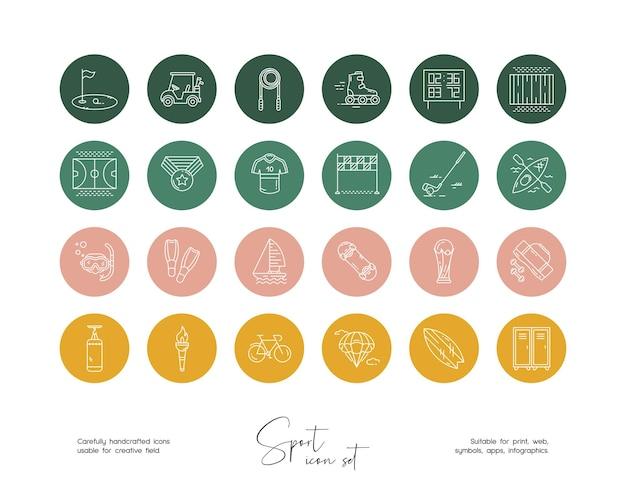 소셜 미디어 또는 브랜딩을 위한 손으로 그린 라인 아트 벡터 스포츠 삽화 세트