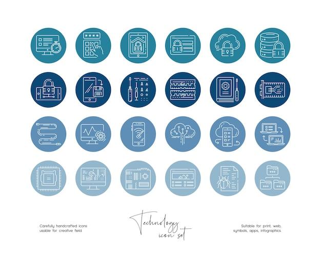 소셜 미디어 또는 브랜딩을 위한 손으로 그린 라인 아트 벡터 기술 삽화 세트