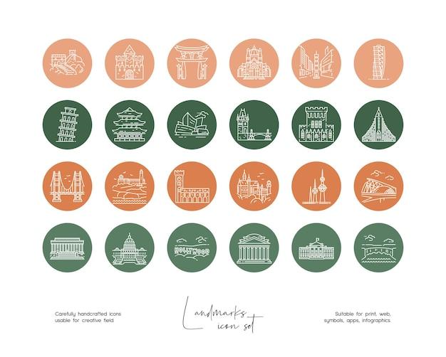 소셜 미디어 또는 브랜딩을 위한 손으로 그린 라인 아트 벡터 여행 삽화 세트