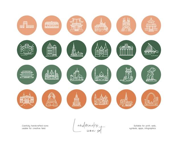 ソーシャルメディアやブランディングのための手描き線画ベクトル旅行イラストのセット