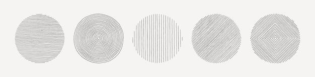 Набор рисованной линии круга в минимальном модном стиле, изолированные на белом фоне. векторный круглый графический элемент текстуры для создания узоров, приглашений, плакатов, открыток