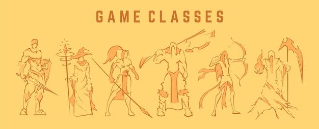 Набор рисованной линии фэнтезийных персонажей Premium векторы
